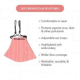 Face Mask- Pink Embroidered